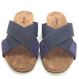 NWT HBCali Linen strap suede accents non-skid sole